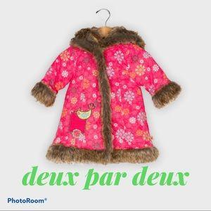 Deux par Deux Winter Coat Corduroy with Fur Trim